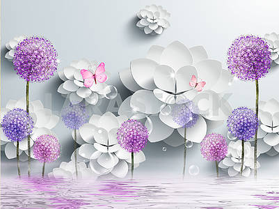 3d illustration, gray background, white paper flowers, colored dandelions, two pink butterflies, reflection in water