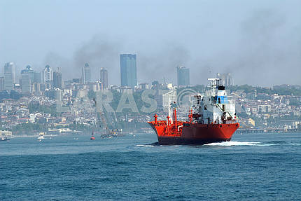 Cargo ship in Bosporus Sea