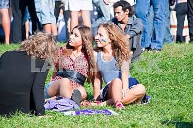 Girls relax on the lawn
