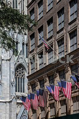 National flags at the Manhattan building, New York.