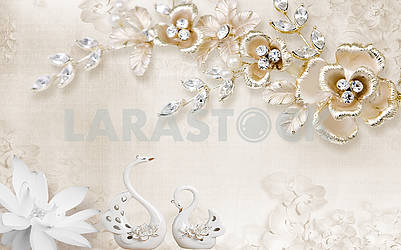 3d illustration, beige background, white paper flower, porcelain swans, fabulous gold-plated flowers with leaves