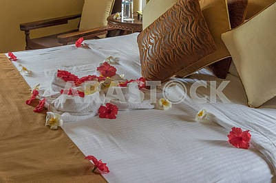 Bedroom interior with flowers