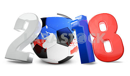 Russia soccer football ball 3d render. Elements of this image fu