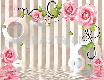 3D illustration, light background with vertical columns, white rings, pink roses and reflection in water