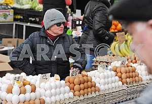 "A woman sells eggs in the market ""Privoz"" in Odessa, April 6, 2012"