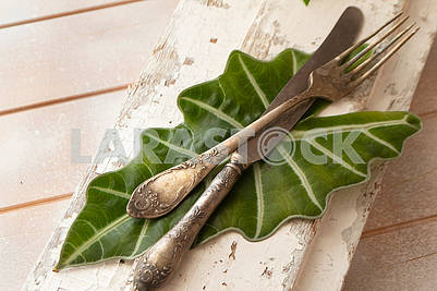 old fork with knife over the white shabby background