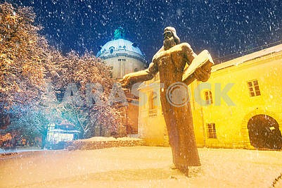 Fedorov Lviv Monument Winter