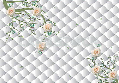 3d illustration, light background, upholstery, beige roses on the branches