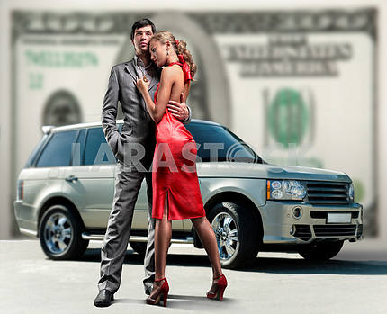 Young beautiful couple backdrop car, money.