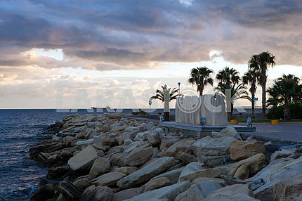 Stone monument on the shore of the Mediterranean Sea