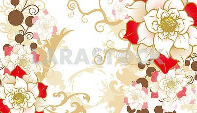 Ornamental illustration, flowers, white, beige, brown and red.