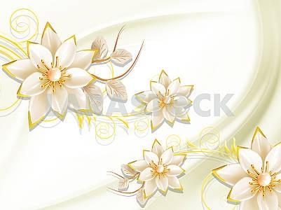 Bright wavelike background, large beige ornamental flowers with yellow edging
