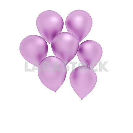 Pink balloons on isolated white in 3D render image