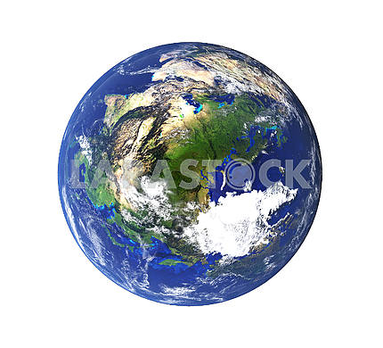 High resolution planet from space on isolated white. Elements of this image furnished by NASA