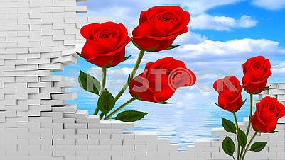 3d illustration, gray bricks, large red roses, blue sky and sea in the background