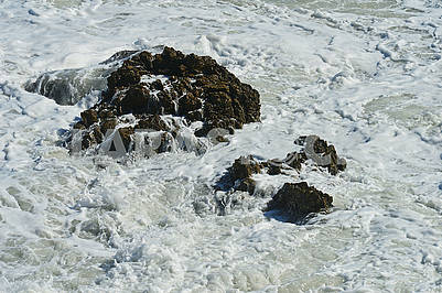 Sea foam during a storm