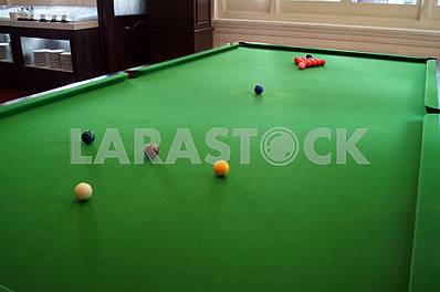 Snooker table with balls
