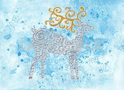 Deer - postcard