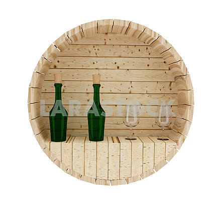 wine oak barrel decoration in 3D render image