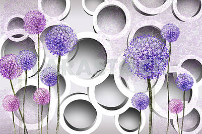 3d illustration, light background, white rings, drawn colored dandelions