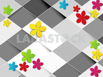 3d illustration, light background, white and gray rhombuses, multi-colored paper flowers