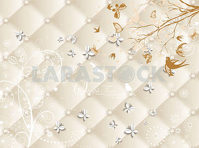 3d illustration, beige upholstery, branch, birds, white paper butterflies