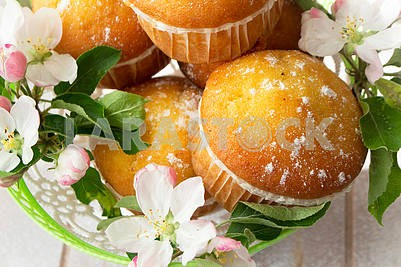 Small golden muffins close up. Baking decorated with apricot or apple flowers.