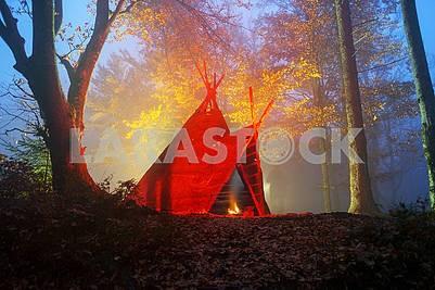 Wigwam tipi and bonfire