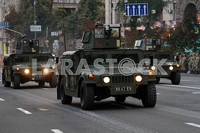The rehearsal of the military parade in Kiev, military Humvees