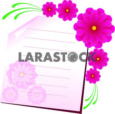 Фон с листом бумаги и цветами, часть 1