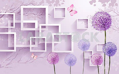 3d illustration, mother-of-pearl-purple background, multi-colored dandelions, pink butterflies, rectangular frames, silhouettes of trees in the background