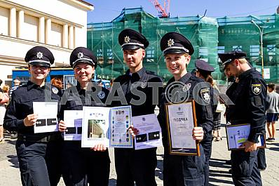 Inspectors patrol police handed the officer ranks in Uzhgorod