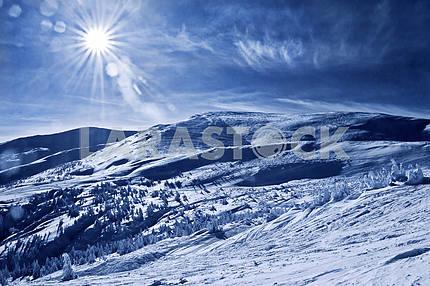 Mountain landscape in the Carpathians, Twin