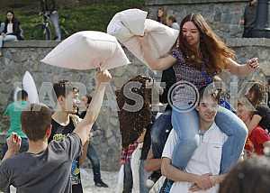 Pillow fight in Kiev