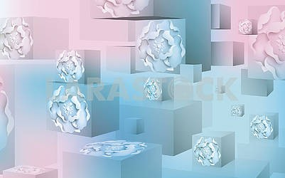 3d blue and pink cube background, water drops