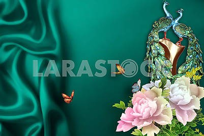 3d illustration, green background, folds of silk, peacocks, butterflies, flowers