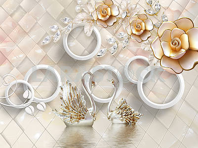 3d illustration, beige background, diamonds, white rings, large fabulous buds with sparkling leaves, two silver swans on the water