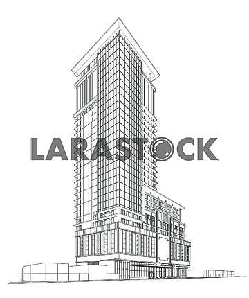 3d wireframe of building. sketch design.Vector