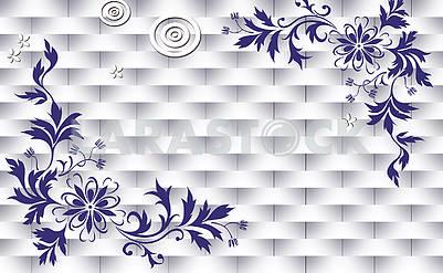 3d illustration, light background, weaving, decorative flowers
