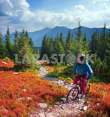 Cyclist in the autumn mountains
