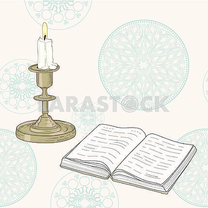 Hand drawn book and candle