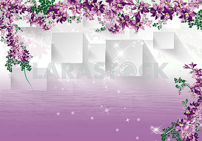 3d illustration, white and purple background, white rectangles, purple flowers, water below