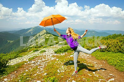 girl with umbrella on Mount Synyak