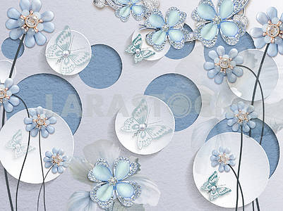 3d illustration, light background, blue and white circles, light blue fairy flowers and butterflies