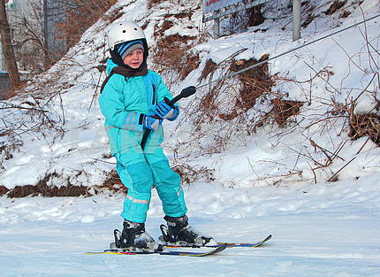A young skier in Protasovoy Yar