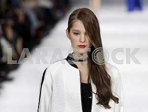 The model demonstrates outfit Polish designer Eva Minge