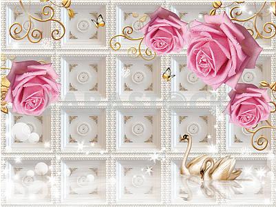 3д иллюстрация, белый фон, рельефная плитка, большие бутоны розовых роз с каплями воды на декоративных золотых ветвях, два лебедя в воде