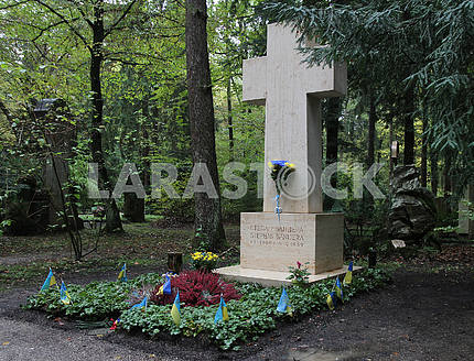 The grave in the cemetery of Stepan Bandera