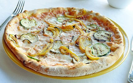 Vegetarian pizza with eggplant and peppers