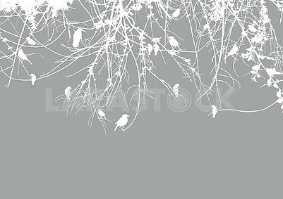 Gray background, white contours of tree branches and birds